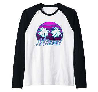 Amazon.com: Miami Florida Retro Hype Raglan Baseball Tee ...