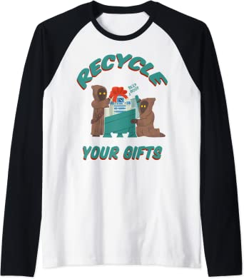 Star Wars Christmas Jawas Recycle Your Gifts R2-D2 Manche Raglan