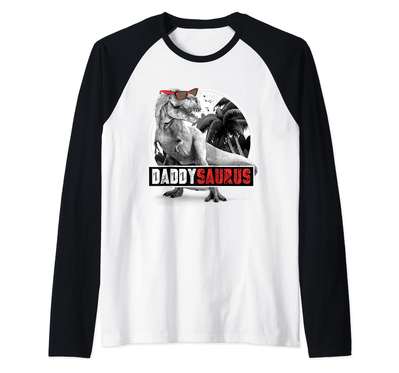 S Daddysaurus Shirt Fathers Day Gift T-rex Dad Dinosaur Raglan Baseball Tee