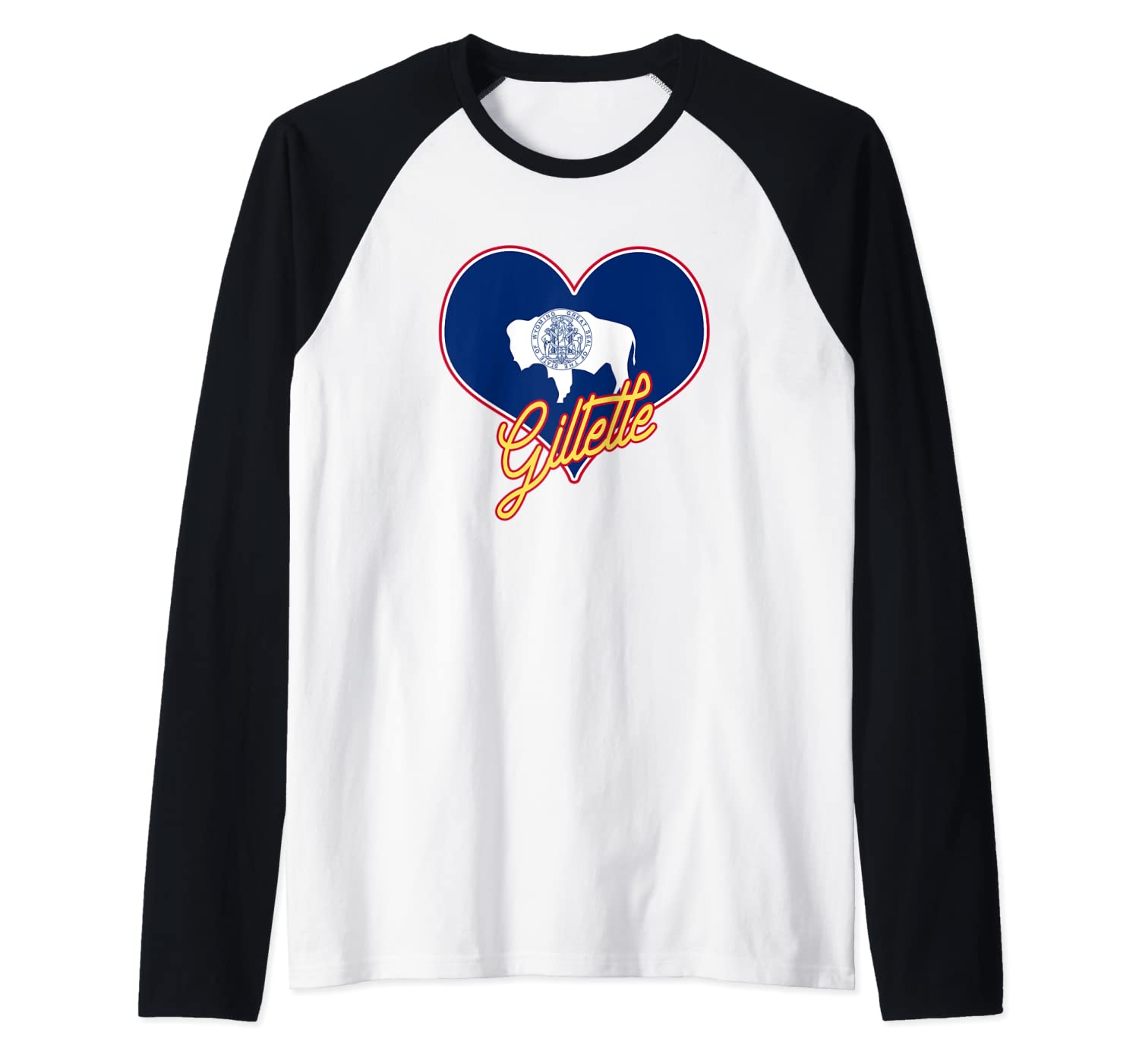 I Love Gillette Wyoming State Flag in Heart Hometown Raglan Baseball Tee