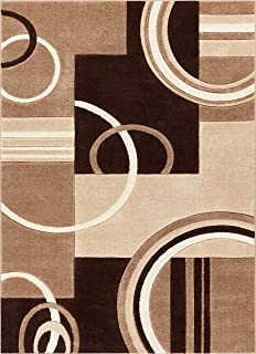 Echo Shapes & Circles Ivory / Beige Brown Modern Geometric Comfy Casual Hand Carved Area Rug 8x10 8x11 ( 7'10