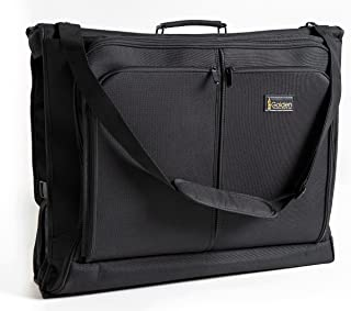Best Garment Bag - Black Carry On Suit Bag Dress Bag for Travel & Business Trips -w/Hanging Hook & Shoulder Strap- for Men and Women - Folding Wardrobe Carrier Luggage by Golden State Ink
