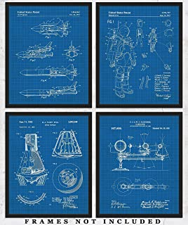 Original Space Blueprint Art Prints – Set of 4 Unframed 8 x 10 Poster Photos. Unique Wall Art for Home, Room & Office Decor. Great Gifts for Men, Women Boys, Girls & Space Enthusiasts!