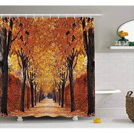 Amazon Com Ambesonne Autumn Shower Curtain Pathway In The Woods Covered Dried Deciduous Tree Leaves Romantic Fall Season Cloth Fabric Bathroom Decor Set With Hooks 70 Long Orange Brown Home Kitchen