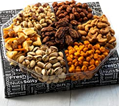 Jeffrey's Nuts Christmas Gift Baskets | Holiday Prime Nut & Snacks Assortment 7 Variety Gourmet Party Food Basket Gifts for Men, Women, Thanksgiving, Valentines, Fathers Mothers Day, Vegan Corporate