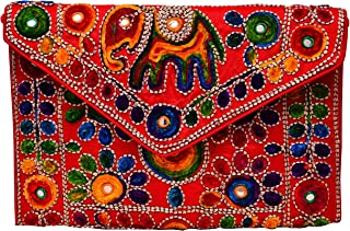 Rich Indian Handwork with Elephant Motifs Cotton Handbags, Clutch for party, evening