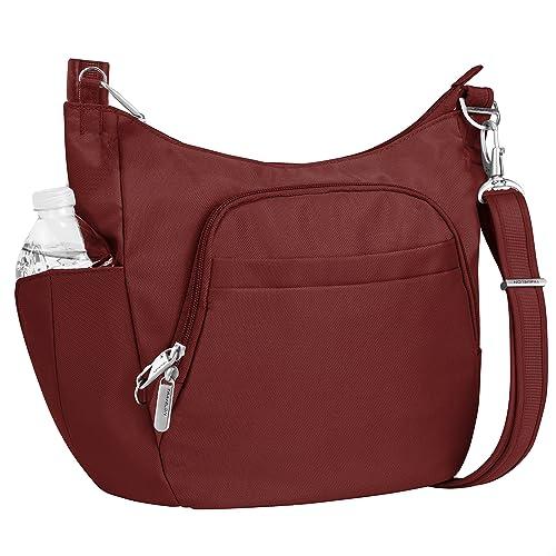 3b8f10bcf Travelon Anti-theft Classic Crossbody Bucket Bag, Wine