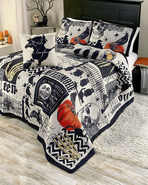 The Lakeside Collection Nevermore 4 Pc Halloween Quilt Set King