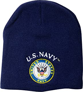 Officially Licensed United States Navy Emblem Embroidered Blue Beanie Hat