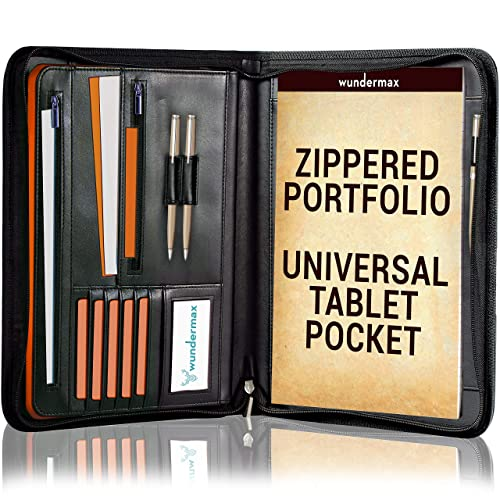Wundermax Zippered Padfolio Portfolio Bonus Writing Pad Professional Interview PU Leather Folder Resume Holder