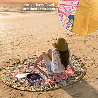 Folkulture Catsy Round Beach Blanket or Beach Towel, Oversized Thick Microfiber Terry Towel, Circle Mandala Super Water Absorbent Boho Towel, 72 Inches, Green and Mustard