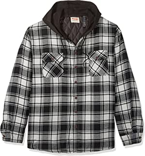 0a1b958583 Wrangler Authentics Men s Long Sleeve Quilted Lined Flannel Shirt Jacket  with Hood