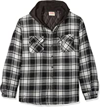 Wrangler Authentics Men's Long Sleeve Quilted Lined Flannel Shirt Jacket with Hood, Caviar With Black Hood, 3XL