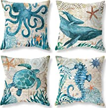 Joyceoo Pillow Case by Sea Turtle and Sea Horse Mediterranean Vintage Style Nautical Ocean Blue Throwing Pillow Case Cotton Linen Home Sofa Car Seat Bed18x18 inch - Throw Pillow Covers Set of 2