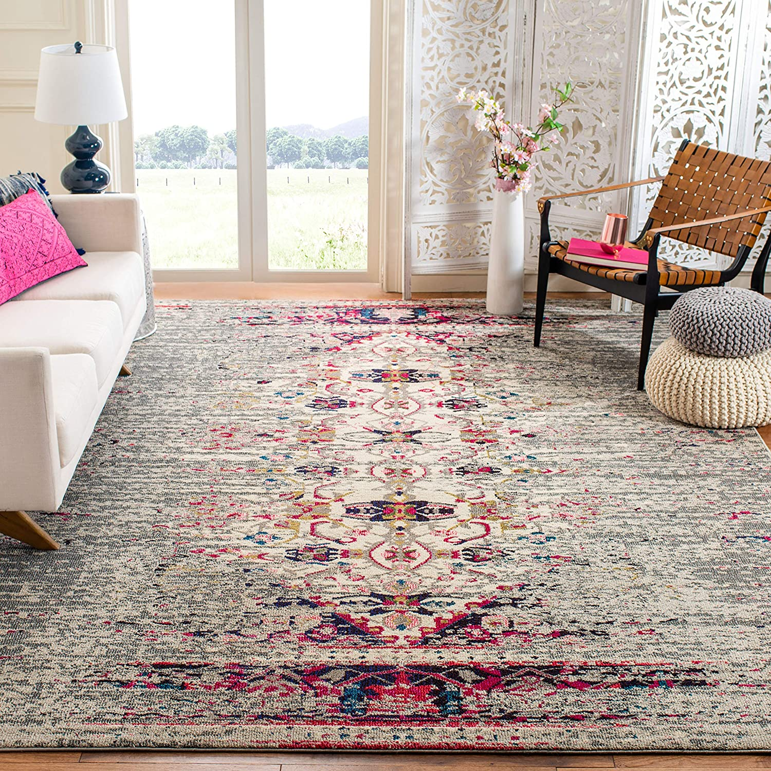 Safavieh Monaco Collection MNC209T Modern Boho Abstract Distressed Non-Shedding Stain Resistant Living Room Bedroom Area Rug, 9' x 12', Grey / Ivory