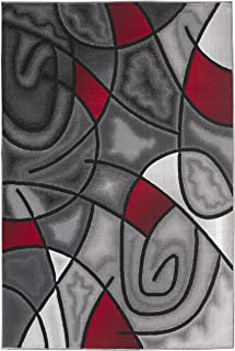 Rugs 4 Less Collection Abstract Contemporary Modern Area Rug, Red Grey Black Design R4L 860 (5'X7')