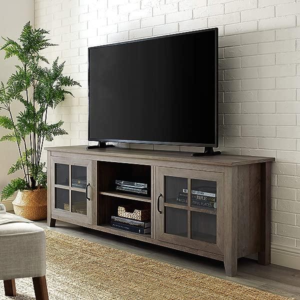 WE Furniture AZ70CSGDGW TV Stand 70 Grey Wash