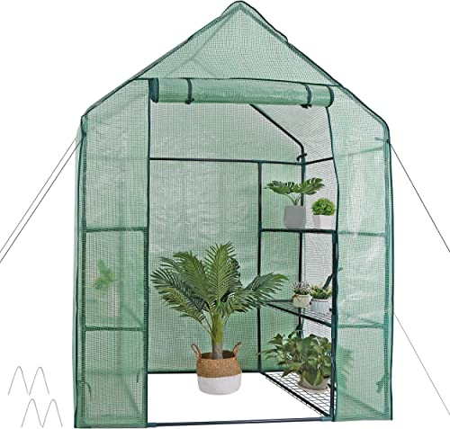 Mini Walk-in Greenhouse 3 Tier 6 Shelves with PE Cover and Roll-Up Zipper Door, Waterproof Cloche Portable Greenhouse...