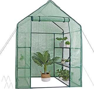 Mini Walk-in Greenhouse 3 Tier 6 Shelves with PE Cover and Roll-Up Zipper Door, Waterproof Cloche Portable Greenhouse Ten...