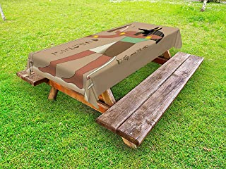 Lunarable Egyptian Outdoor Tablecloth, Abstract Mythological Eygptian Invention of Embalming First Mummy Old Times, Decorative Washable Picnic Table Cloth, 58