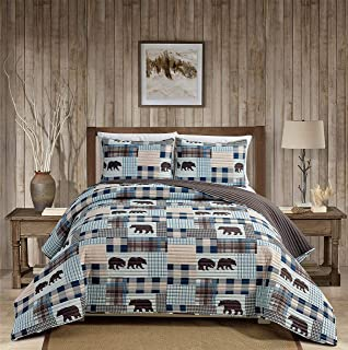 Rustic Modern Farmhouse Cabin Lodge Stripe Quilted Bedspread Coverlet Bedding Set with Patchwork of Grizzly Bears and Buff...