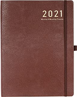 """$21 » 2021 Planner - Weekly/Monthly Planner, 8.5"""" x 11"""", Soft Leather cover with Thick Paper, Back Pocket with 24 Notes Pages - ..."""