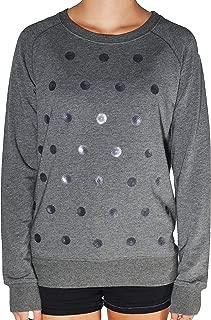 Ladies' Long Sleeve Embellished Top-Charcoal Dot Pattern