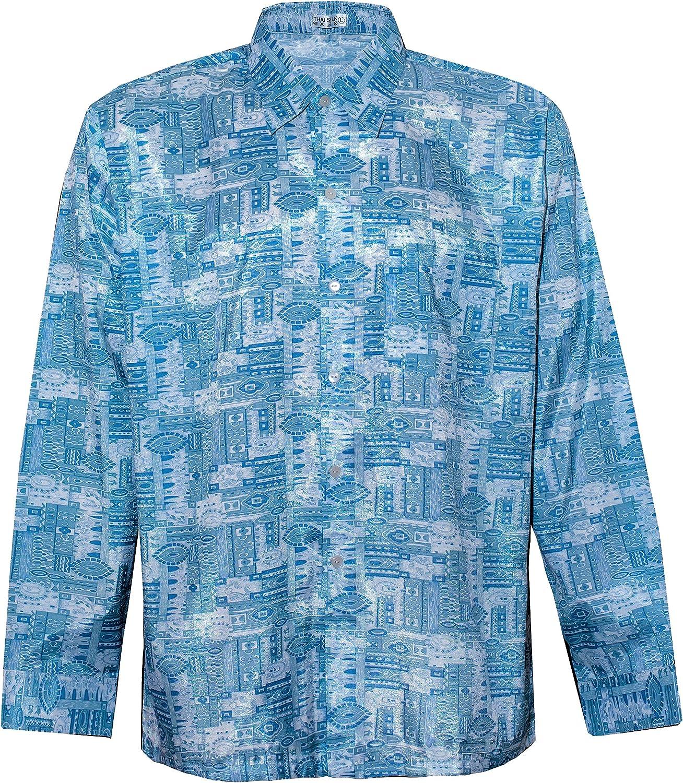 Thai Silk Camisa de los hombres manga larga ojos patrón gráfico
