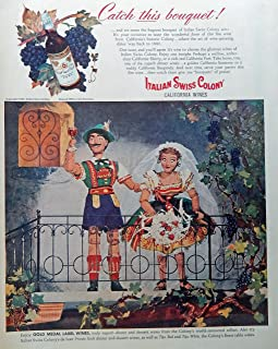 Italian Swiss Colony California Wines, 40's Print Ad. Full Page Color Illustration (Tipo Red and Tipo Whitel) Rare, Original Vintage 1947 Collier's Magazine Art