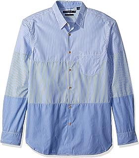 French Connection Mens 52JCN Horizontal Cut Stripe Buttondown Shirt Long Sleeve Button Down Shirt - Blue