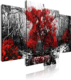 DekoArte - Cuadros Modernos Impresión de Imagen Artística Digitalizada | Lienzo Decorativo Para Tu Salón o Dormitorio | Estilo Paisaje Blanco y Negro con Árboles Rojos | 4 Piezas 120 x 90 cm