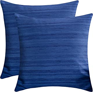 The White Petals Indigo Blue Decorative Pillow Covers (Faux Silk, 20x20 inch, Pack of 2)