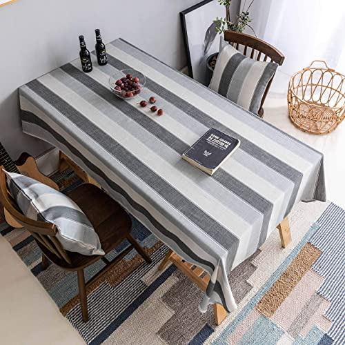 Home Brilliant Striped Table Cloth for 8 ft Table Table Cover for Kitchen Dining Table Decoration Rectangle Tableclot...