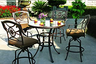Darlee Ten Star Cast Aluminum 5-Piece Bar Set with Seat Cushions and 42-Inch Glass Top Bar Table, Antique Bronze Finish