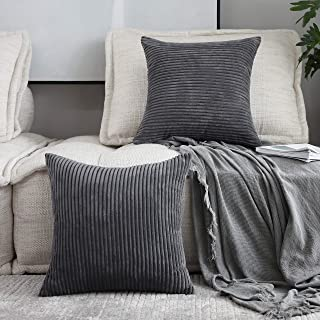 Home Brilliant Set of 2 Striped Corduroy Plush Velvet Large Euro Sham Fall Decoration Cushion Cover for Couch, 24 x 24 inch (60cm), Dark Grey
