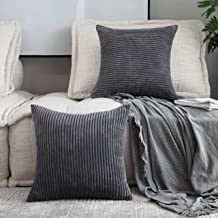 Home Brilliant Set of 2 Throw Pillow Covers Soft Velvet Corduroy Striped Square Cushion Cover for Couch, 20 x 20 inch(50cm), Dark Grey