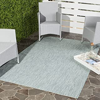 Safavieh Courtyard Collection CY8521-37121 Aqua and Grey Indoor/ Outdoor Area Rug (6'7