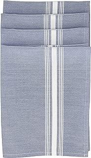Garnier-Thiebaut Sky Blue Polyester Reverse Bistro Napkins (Set of 4) White Stripes