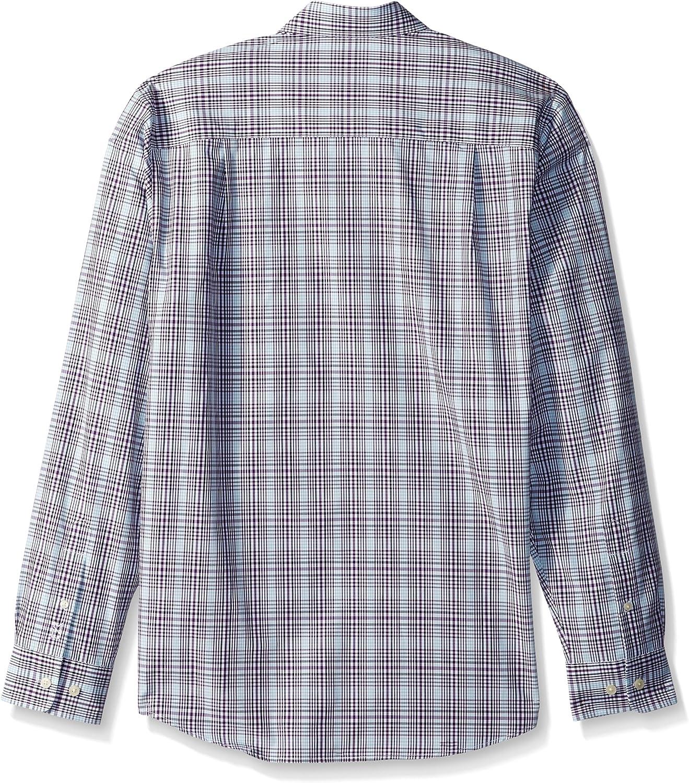 Cutter & Buck Men's Big and Tall Long Sleeve Non-Iron Plaid Spread Collar Dress Shirt