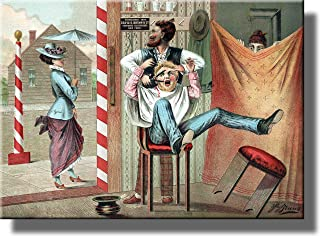 Barber Shop Humorous Picture on Stretched Canvas, Wall Art Décor, Ready to Hang!