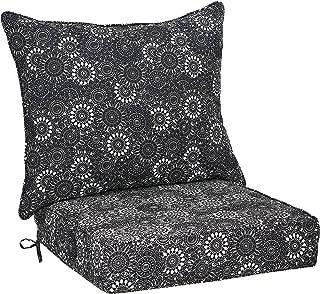AmazonBasics Deep Seat Patio Seat and Back Cushion- Black Floral