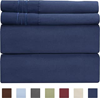 Full Size Sheet Set - 4 Piece - Hotel Luxury Bed Sheets - Extra Soft - Deep Pockets - Easy Fit - Breathable & Cooling - Wrinkle Free - Comfy – Navy Blue Bed Sheets – Fulls Royal Sheets – 4 PC