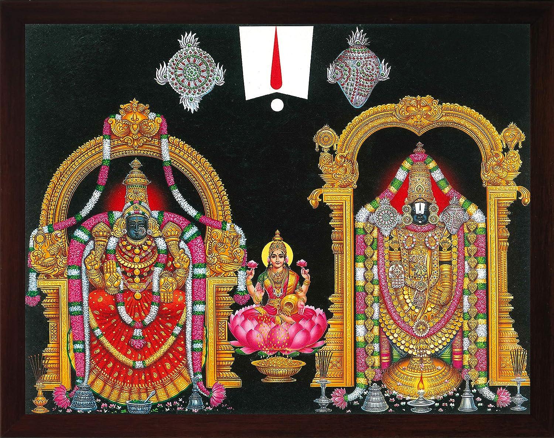 Buy Handicraft Store Lord Balaji Tirupati Balaji Venkateswara Lord Vyankatesh With Goddess Laxmi Lakshmiji With Balaji A Religious Poster Painting For Wealth Prosperity Home Office For Good Luck Online In Turkey B01mxnm2rn