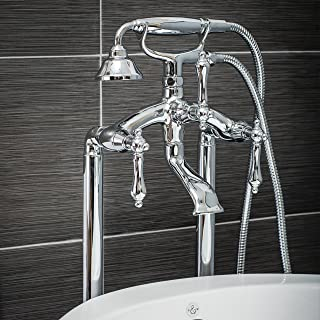 Luxury Clawfoot Tub or Freestanding Tub Filler Faucet, Vintage Design with Telephone Style Hand Shower, Floor Mount Installation, Lever Handles, Polished Chrome Finish