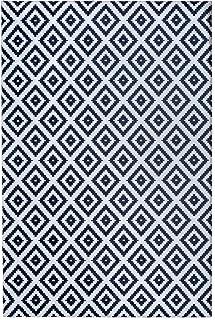 Mylife Rugs Potenza Collection Contemporary Modern Geometric Non Slip (Non-Skid) Machine Washable Area Rug (4'x6', Black - White)