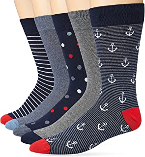 Marca Amazon - Goodthreads - Calcetines estampados para hombre, 5 unidades, diseño de rayas, talla única