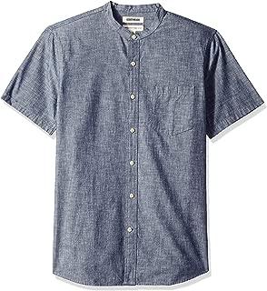 Goodthreads Men's Standard-Fit Short-Sleeve Band-Collar Chambray Shirt