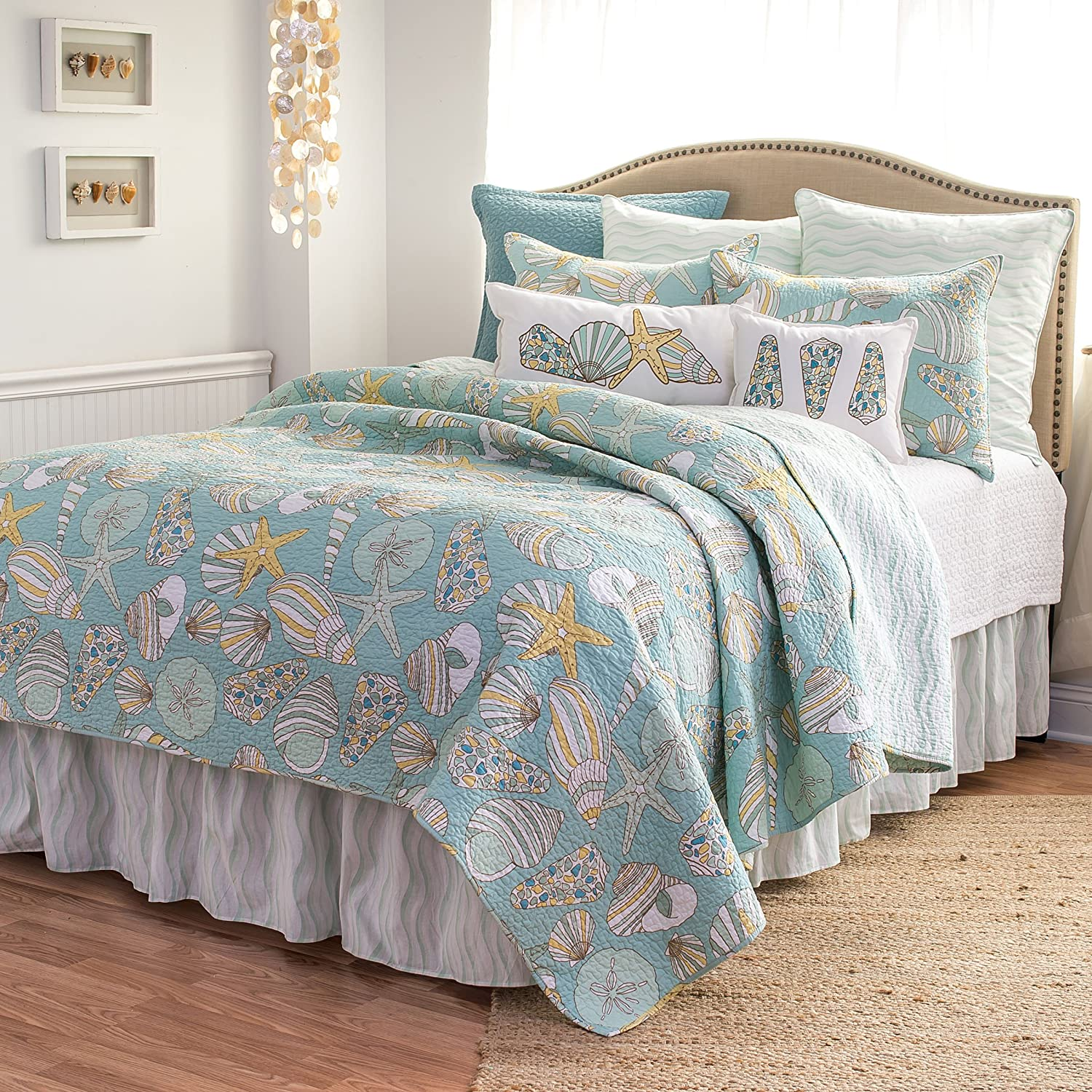 C&F Home Cabana Bay Twin Quilt 100% Cotton Lightweight Machine Washable Reversible Bedspread Coverlet Twin Multi-Color