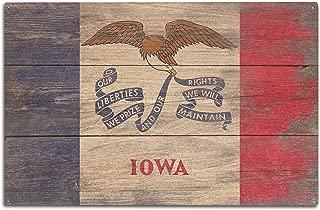 Lantern Press Rustic Iowa State Flag (10x15 Wood Wall Sign, Wall Decor Ready to Hang)
