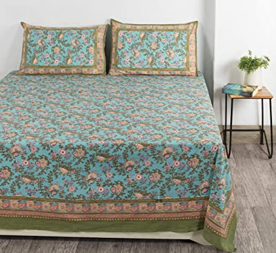 """Ravaiyaa - Attitude is everything Floral Hand Block Printed Bedding Bed Cover Bedspread Cotton Double Bedsheet with 2 Pillow Cover 108"""" X 90"""" Inch (Turquoise)"""